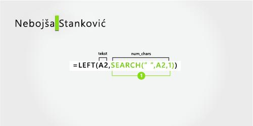 Formula za odvajanje imena i prezimena i inicijal srednjeg imena