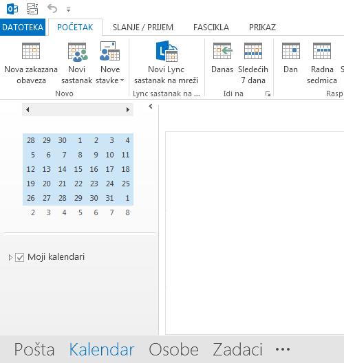 Veza za kalendar je na dnu ekrana.