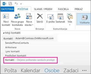 Deljeni spisak kontakata se prikazuje u oknu za kontakte u programu Outlook