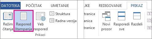Prikaz rasporeda za štampanje