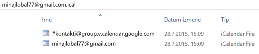 Slika kako izgleda kada otpakujete izvezeni kalendar.