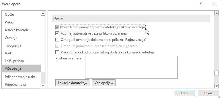 "Opcija ""Potvrdi pretvaranje formata datoteke prilikom otvaranja"""