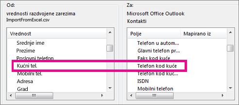 Mapiranje polja u datoteci za uvoženje sa poljima u programu Outlook