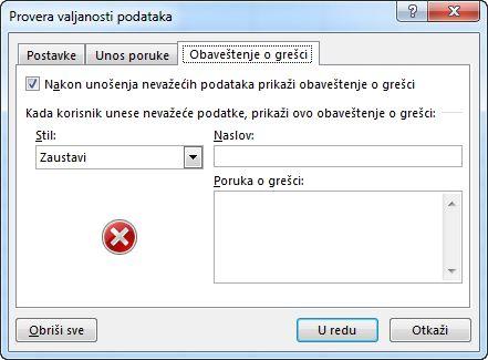 Otkucajte poruku koju želite da ljudi vide ako padajuća lista ne radi ispravno u programu Excel