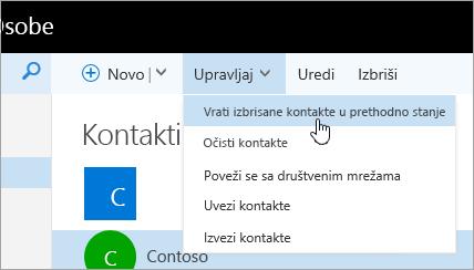 """Snimak ekrana kontekstualnog menija za dugme """"Upravljaj"""" sa izabranom stavkom """"Vrati izbrisane kontakte u prethodno stanje""""."""