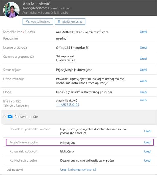 Snimak ekrana prikazuje stranicu korisničkog profila za korisnika koji se zove ali Belew sa e-poštom prosleđivanje skup zatvoreno i dostupnih opcija za uređivanje.
