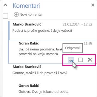 """Slika komande """"Odgovori"""" ispod komentara u oknu """"Komentari"""" u programu Word Web App."""