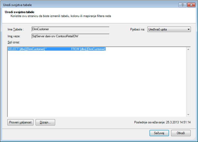 SQL upit koristeći podrazumevanu, kraću sintaksu