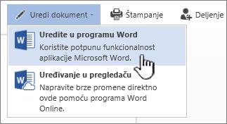"""Word dokument otvoren iz SharePoint biblioteke sa markiranom stavkom """"Uredi u programu Word"""""""
