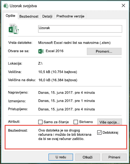 Desnim tasterom miša na datoteku u programu Windows Explorer da deblokirate makroi.