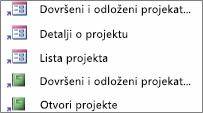 Prečice u prilagođenom prikazu kategorija