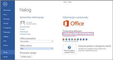 """Word 2013 prikazuje prozor """"Datoteka > nalog"""""""