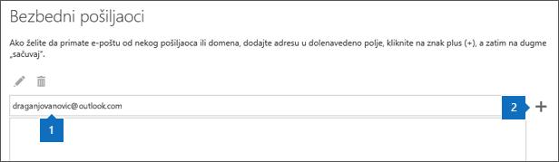 """Snimak ekrana stranice """"Pouzdani pošiljaoci""""."""