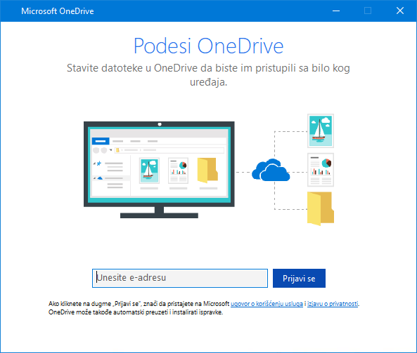 Novi korisnički interfejs ekrana za podešavanje usluge OneDrive