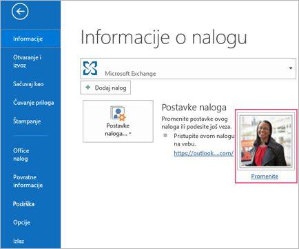 Promena fotografije veza u programu Outlook
