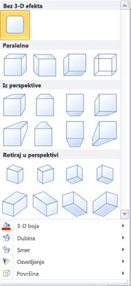 Opcije WordArt 3-D efekata u programu Publisher 2010