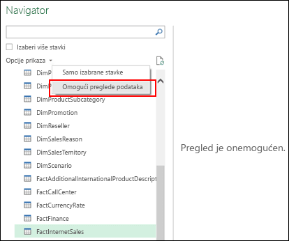 """Power Query – opcija za onemogućavanje pregleda iz prozora """"Navigator"""""""