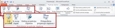 """Kartica """"Projekcija slajdova"""" u programu PowerPoint 2010, pogled na grupu """"Pokretanje projekcije slajdova""""."""