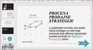 Prezentacija sa slajdom na kojem se nalazi grafikon i tekst sa dve hiperveze