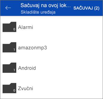 Čuvanje datoteka iz usluge OneDrive