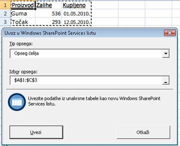 Uvoz u SharePoint listu