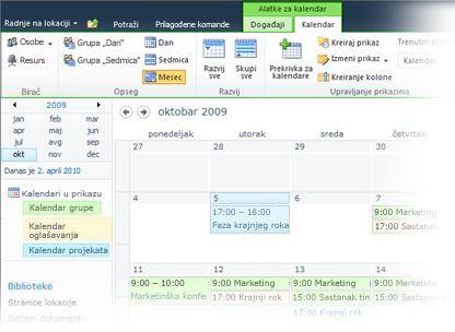 Korišćenje više kalendara u sistemu SharePoint