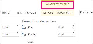 """Slika komande """"Alatke za tabele"""" koja se pojavljuje na vrhu trake kada kliknete bilo gde u tabeli."""