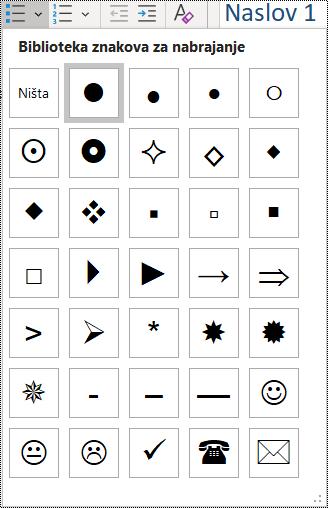 """Snimak ekrana izbora stavke liste sa znakovima za nabrajanje u meniju """"Početak""""."""
