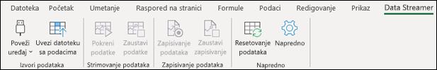 Programski dodatak Data Streamer u meniju trake programa Excel