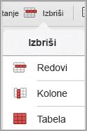 iPad meni za brisanje tabele