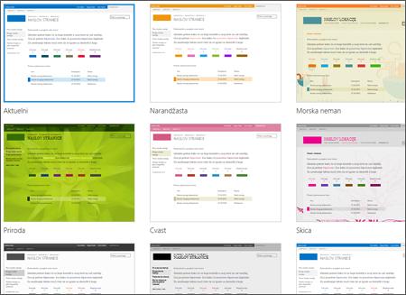 Stranica u sistemu SharePoint Online koja prikazuje slike predložaka lokacije