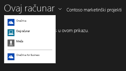 Biranje OneDrive for Business aplikacije iz druge aplikacije