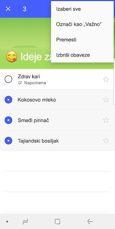 Snimak ekrana koji prikazuje opciju za premeštanje zaduženja na Android uređaju