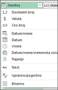 Power Query – indikator tipa kolone u zaglavljima kolona u pregledu uređivača upita