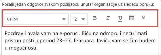 Poruka automatskih odgovora u aplikaciji Outlook na vebu