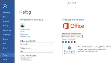 """Word RT prikazuje prozor """"Datoteka > nalog"""""""