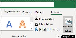 Alternativni tekst dugme na traci programa Excel za Windows