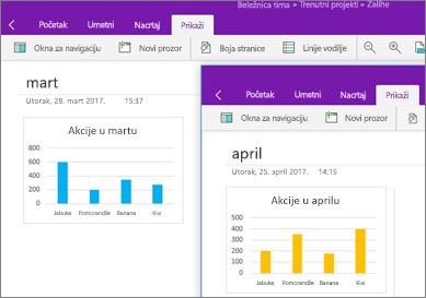 Dve pokrenute instance programa OneNote sa prikazanim različitim beleškama
