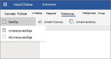 Word dokument sa prikazanim opcijama za sadržaj