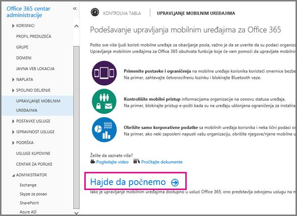 Podešavanje upravljanja mobilnim uređajima za Office 365