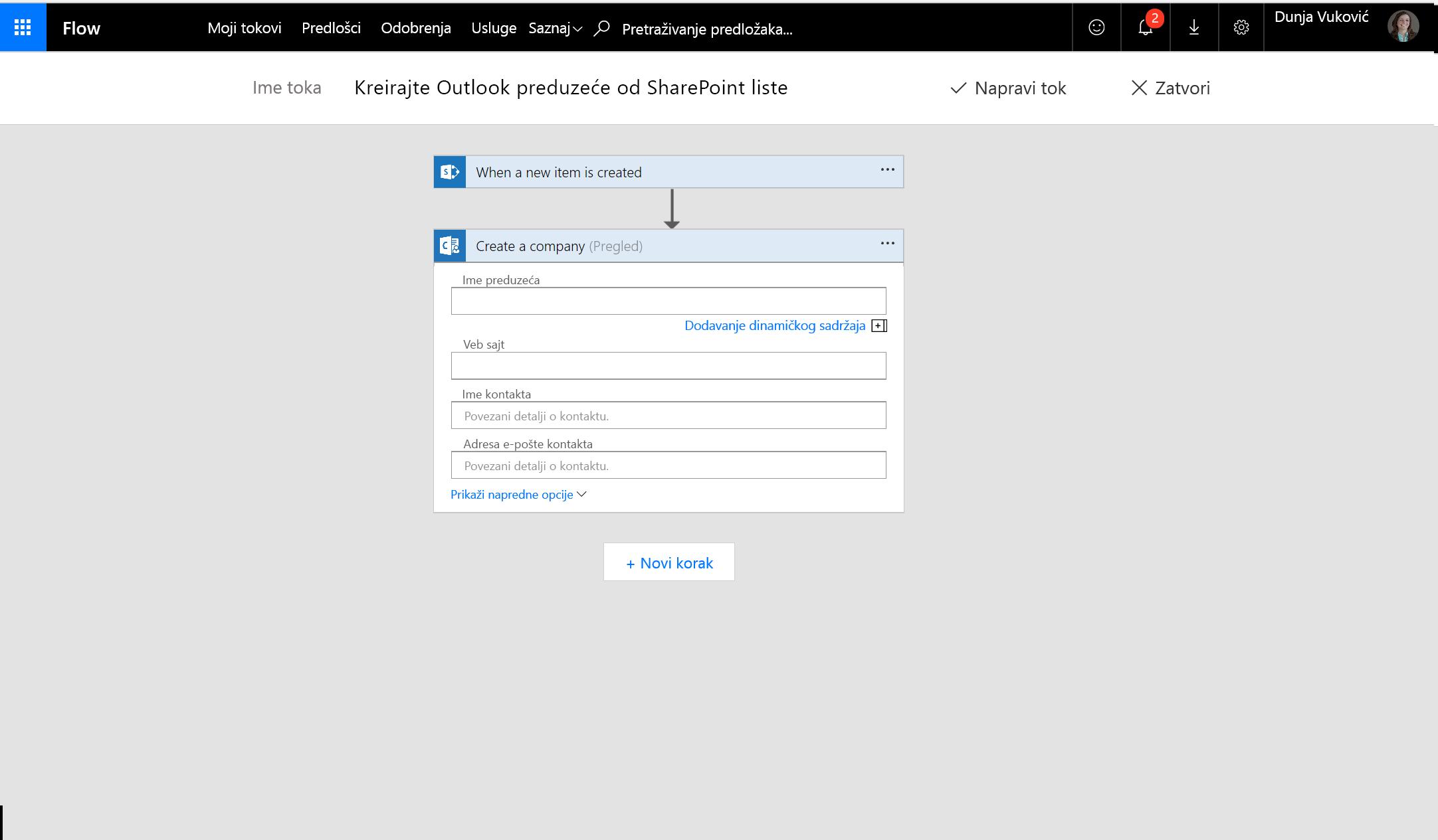 Snimak ekrana kako da kreirate preduzeća pomoću toka