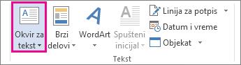 """Komanda """"Okvir za tekst"""" na kartici """"Umetni"""""""