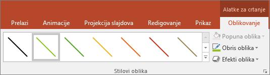 """Prikazuje """"Brzi izbor stilova"""" za linije u sistemu Office"""