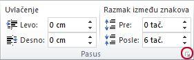 """Grupa """"Pasus"""" na kartici """"Raspored na stranici"""""""