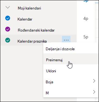 """Snimak ekrana kontekstualnog menija kalendara sa izabranom stavkom """"Preimenuj"""""""