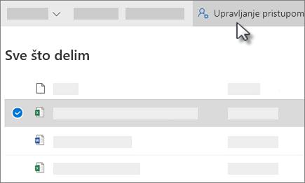 """Snimak ekrana dugmeta """"Upravljaj pristupom"""" u usluzi """"Deljeno sa mnom"""" u usluzi OneDrive for Business"""