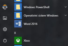 Primer koji prikazuje prečicu programa Word 2016 koja nedostaje u Office prečicama
