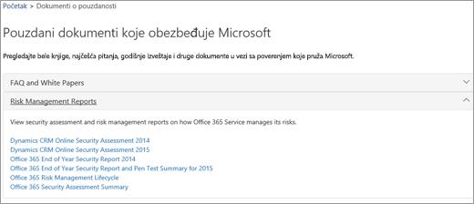 """Prikazuje stranicu """"Provera usluge"""": Pouzdani dokumenti koje obezbeđuje Microsoft"""