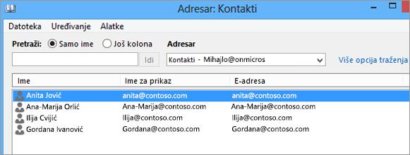 """Kada uvezete kontakte iz usluge Google Gmail u Office 365, videćete ih navedene u okviru stavki """"Adresar: Kontakti"""""""