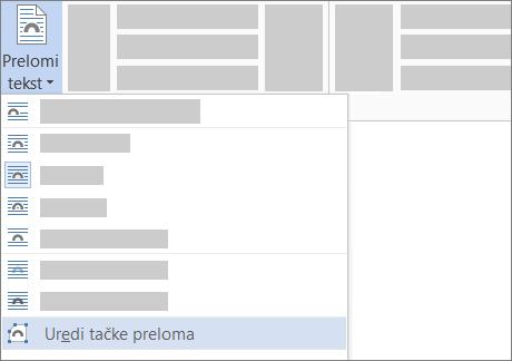 "Opcija ""Uredi tačke preloma"" za prelamanje teksta na traci"